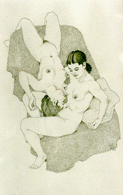 Huib de Ru | A seated and reclining nude, pencil on paper, 25.5 x 17.0 cm, signed l.r.