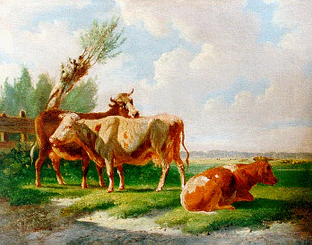 Albertus Verhoesen | Cattle in a meadow, oil on panel, 13.0 x 16.7 cm, signed l.l. and dated 1869