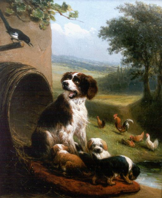 Henriette Ronner-Knip | A dog with puppies, oil on panel, 17.0 x 13.7 cm, signed l.r.