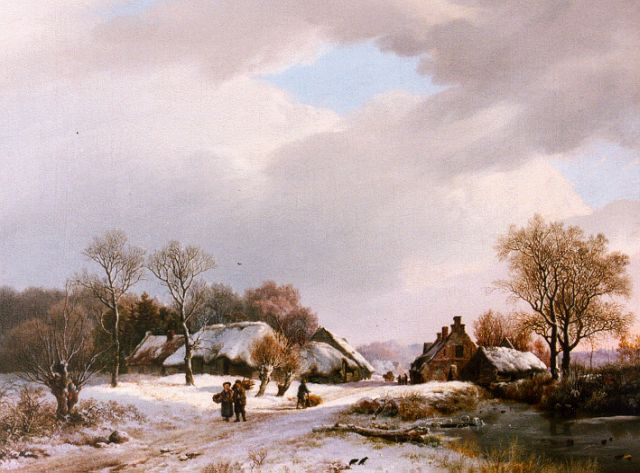 Barend Cornelis Koekkoek | A winter landscape with travellers on a path, oil on canvas, 36.0 x 47.2 cm, signed l.r. and dated 1827