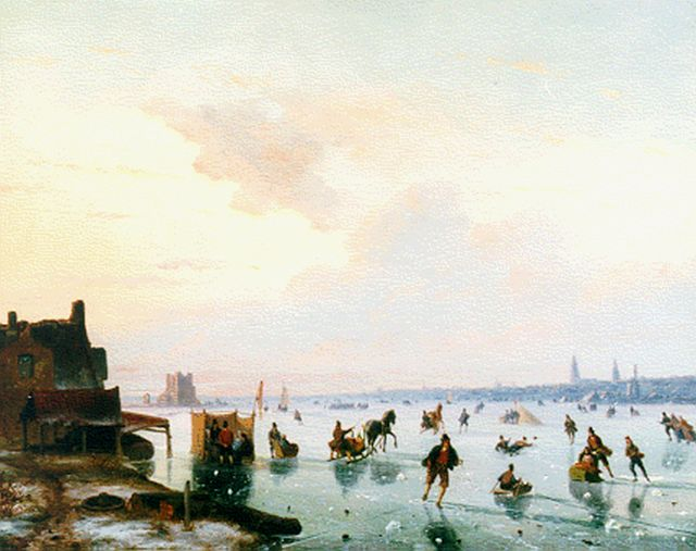 Nicolaas Johannes Roosenboom | A frozen waterway with skaters, oil on panel, 36.5 x 46.7 cm, signed l.r.