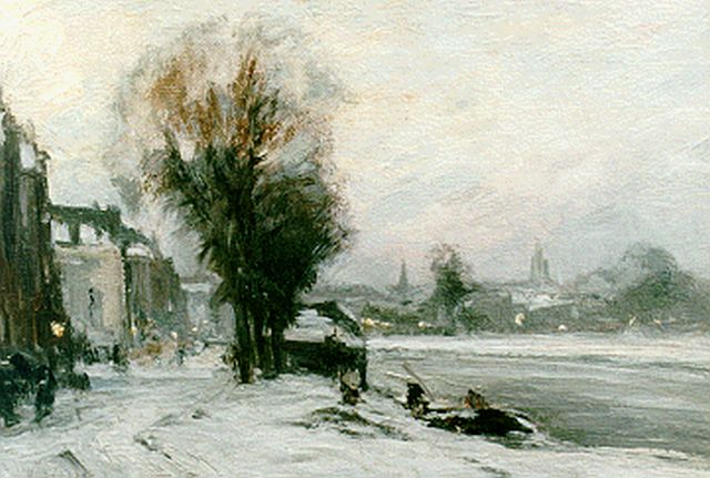 Louis Apol | A snow-covered quay, oil on canvas, 21.2 x 30.3 cm, signed l.l.