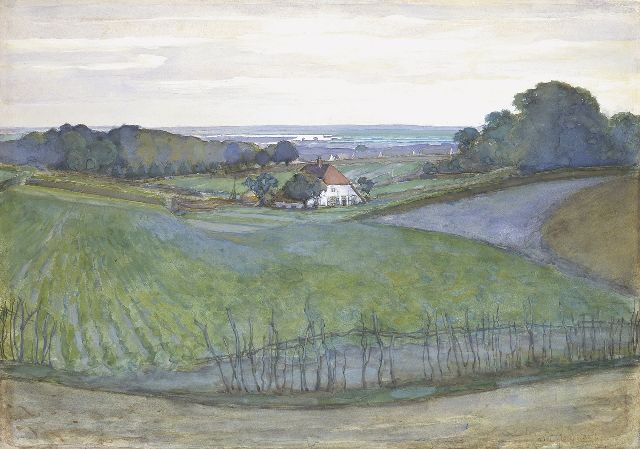 Mondriaan P.C.  | A farm in a landscape, with Arnhem in the distance, watercolour and gouache on paper, 46.0 x 65.0 cm, signed l.r. and painted ca. 1901