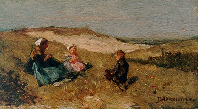 Johannes Evert Hendrik Akkeringa | Mother and children in the dunes, oil on panel, 7.5 x 12.6 cm, signed l.r.