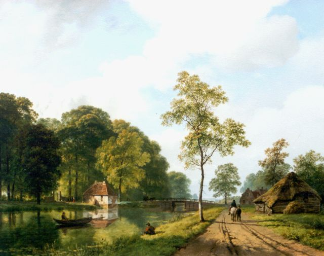 Barend Cornelis Koekkoek | Travellers along a waterway, Utrecht, oil on canvas, 44.6 x 55.0 cm, signed l.r. and dated 1839