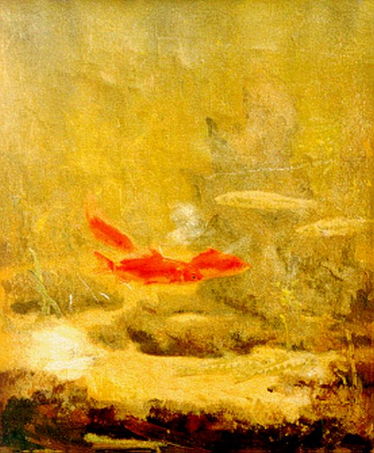 Gerrit Willem Dijsselhof | Red fish, oil on canvas, 34.5 x 28.7 cm, signed l.l. with monogram
