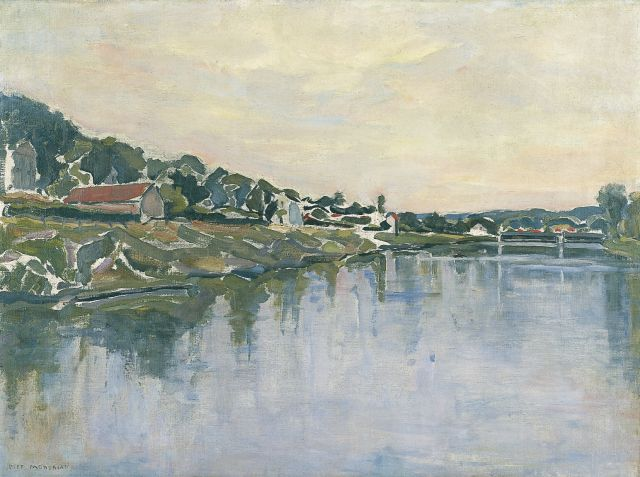 Mondriaan P.C.  | View of the river Seine, oil on canvas, 54.2 x 73.1 cm, signed l.l. and painted in 1929