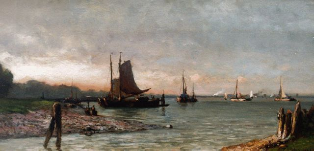Piet Schipperus | The river Maas, Rotterdam, oil on panel, 20.1 x 38.0 cm, signed l.r.