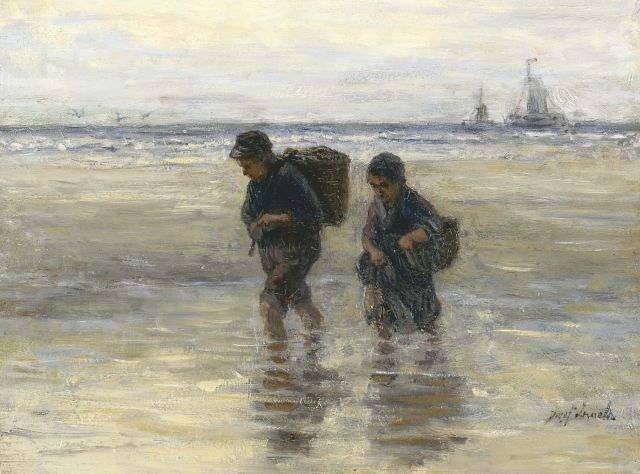 Jozef Israëls | Gathering kelp, oil on panel, 36.7 x 49.0 cm, signed l.r.