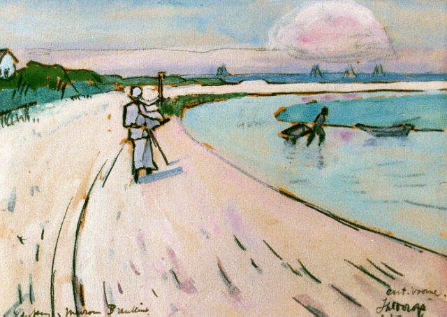 Toorop J.Th.  | Walking along the beach, Oostvoorne, watercolour on paper, 11.0 x 15.0 cm, signed l.r. and dated 1916