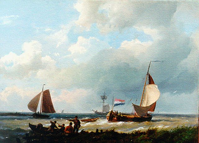 Hermanus Koekkoek | Vessel by a jetty, oil on canvas laid down on panel, 26.3 x 36.0 cm, signed l.l.