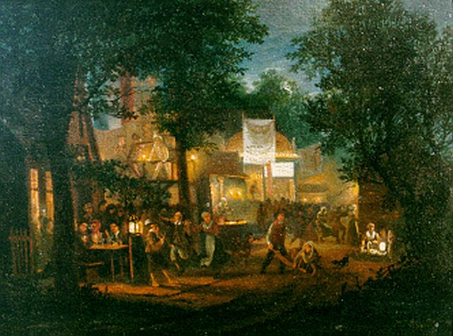 Cate H.G. ten | A fair by night, oil on panel, 20.5 x 27.3 cm, signed l.r. and dated 1833