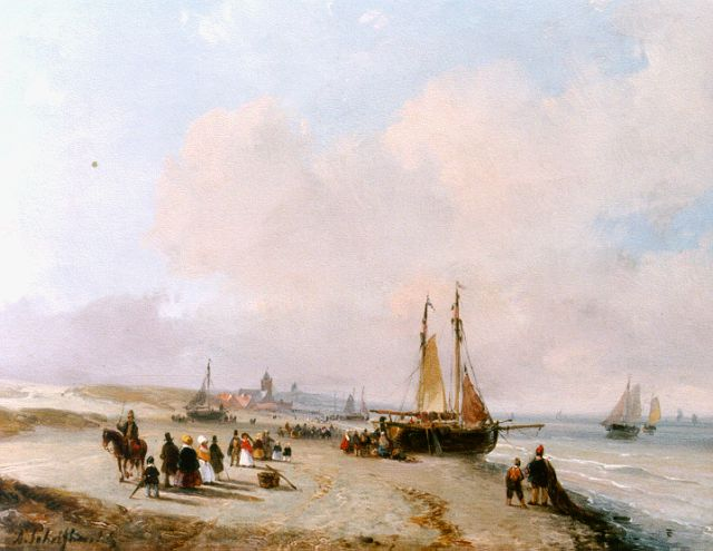 Andreas Schelfhout | An elegant company and fisher folk on the beach of Scheveningen, oil on panel, 18.4 x 23.0 cm, signed l.l. and painted circa 1855