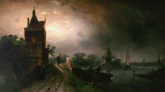 Charles Leickert | A moonlit river landscape, oil on panel, 13.1 x 22.0 cm, signed l.r.