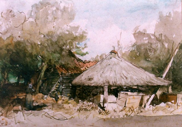 Johannes Bosboom | A farmyard, watercolour on paper, 23.6 x 33.0 cm, signed l.l. with initials