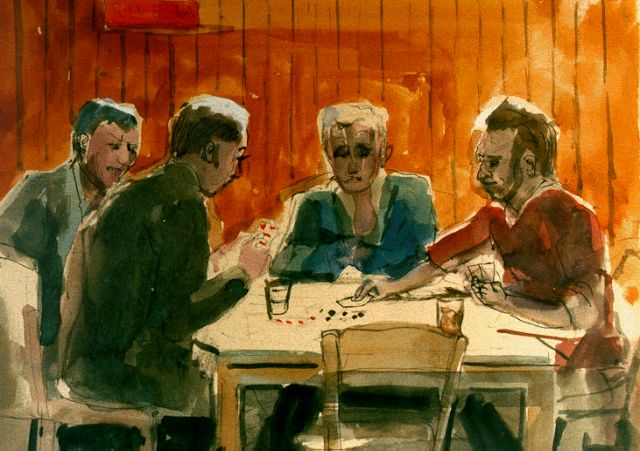 Harm Kamerlingh Onnes | Card playing, ink and watercolour on paper, 26.2 x 29.5 cm, signed l.l. with monogram and dated '64