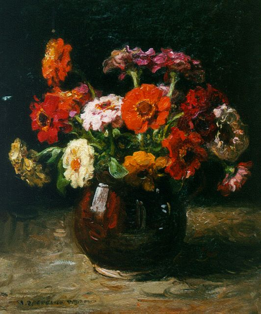 Jan Zoetelief Tromp | A still life with zinnias, oil on canvas, 42.0 x 35.0 cm, signed l.l.