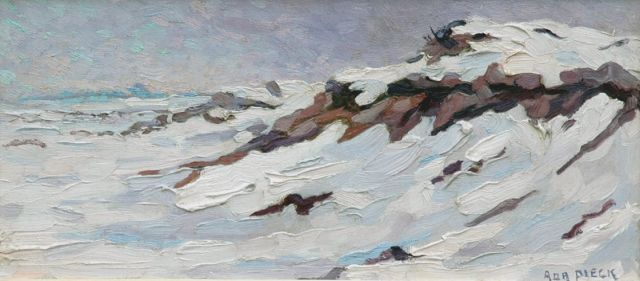 Adri Pieck | Snow-covered dunes, oil on paper laid down on board, 20.0 x 44.5 cm, signed l.r.