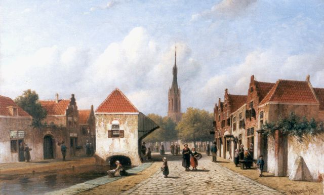 Petrus Gerardus Vertin | A view of Delft with the 'Nieuwe Kerk' in the background, oil on canvas, 36.5 x 58.4 cm, signed l.r. and dated '67