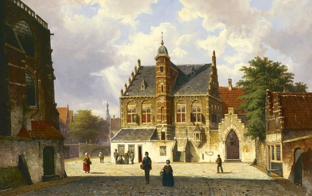 Willem Koekkoek | A sunlit village square with figures, oil on canvas, 45.0 x 70.9 cm, signed l.l. with initials and dated '65