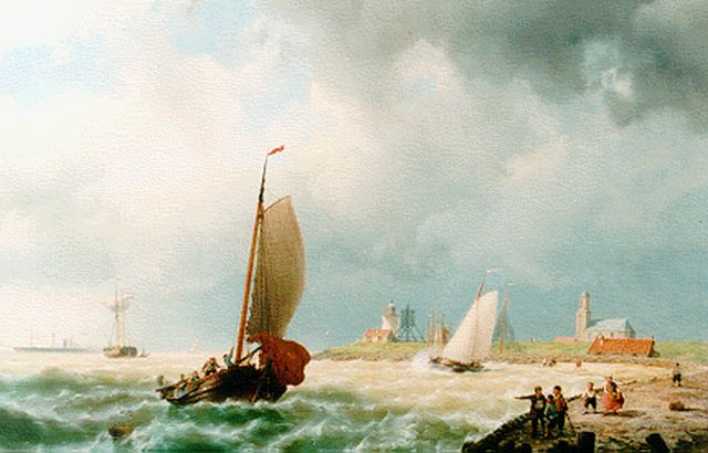 Koekkoek J.H.B.  | Vessels on a breezy day, oil on canvas 55.4 x 88.5 cm, signed l.r. and dated '65