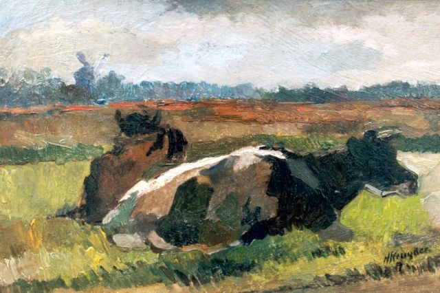 Herman Kruyder | Cows grazing, oil on canvas, 30.0 x 44.0 cm, signed l.r.