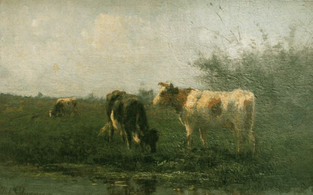 Herman Bogman | Cows in a meadow, oil on canvas, 21.0 x 32.5 cm, signed l.l.