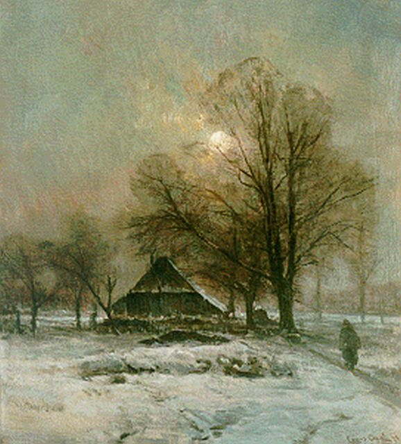Louis Apol | A farm in a snow-covered landscape, oil on canvas, 51.2 x 46.2 cm, signed l.r.