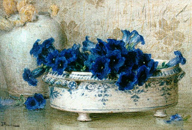 Ernest Filliard | Gentians in a bowl, watercolour on paper, 28.5 x 41.5 cm, signed l.l.