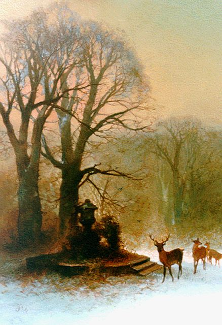 Charles Rochussen | Deer in a winter landscape, oil on panel, 59.9 x 44.6 cm, signed l.l. with initials and dated 1872