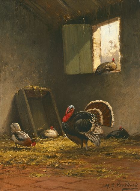Marinus Adrianus Koekkoek II | Poultry in a stable, oil on panel, 36.0 x 26.5 cm, signed l.r.