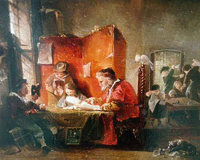 Roelofs W.  | Schoolroom, oil on panel, 24.0 x 30.4 cm, signed l.c. and dated 1839