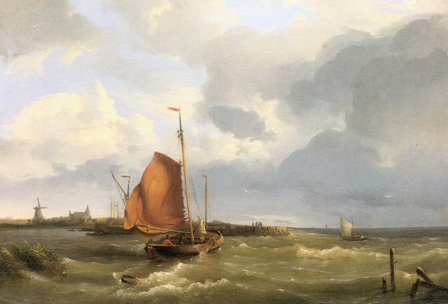 Hermanus Koekkoek | Smack on the Zuiderzee, oil on canvas, 38.5 x 55.0 cm, signed l.r. and dated 1849