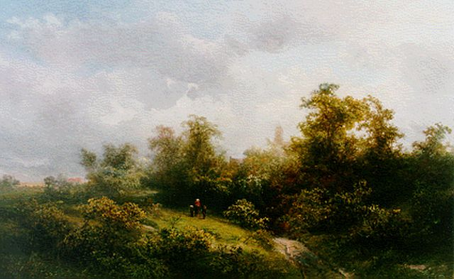 Pieter Kluyver | Travellers in a wooded landscape, oil on panel, 32.0 x 52.0 cm, signed l.l.