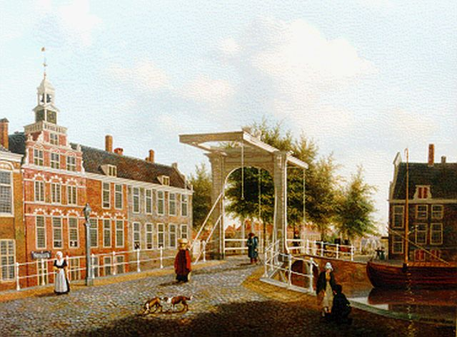 Pieter Daniel van der Burgh | A view of the Spui, The Hague, oil on panel, 37.8 x 47.3 cm, signed l.r.