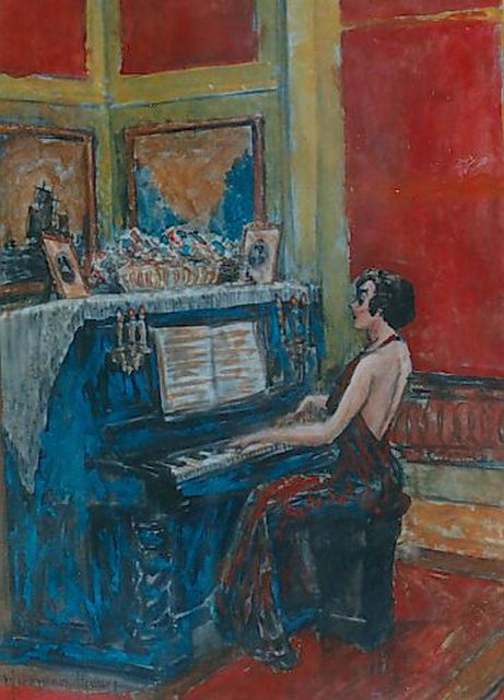Harmen Meurs | Elegant lady playing the piano, watercolour on paper, 26.0 x 19.0 cm, signed l.l.