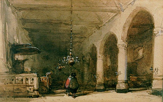 Johannes Bosboom | Aisle of a church, watercolour on paper, 9.0 x 13.8 cm, signed l.l.