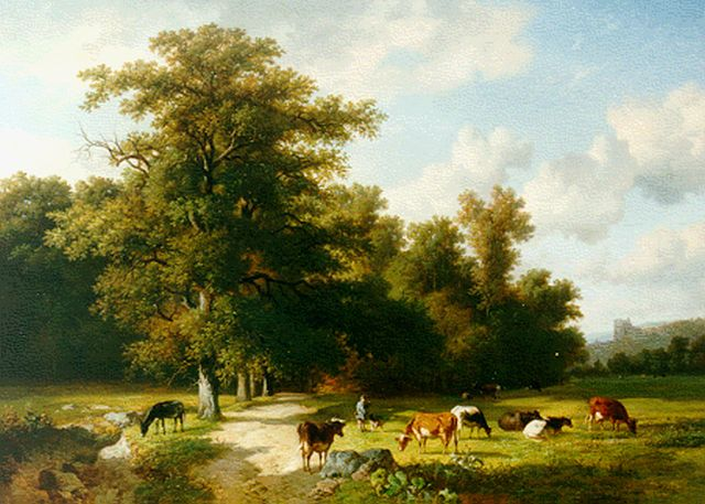 Louis Marie Dominique Romain Robbe | Cattle in a landscape, oil on panel, 74.0 x 101.8 cm, signed l.r.