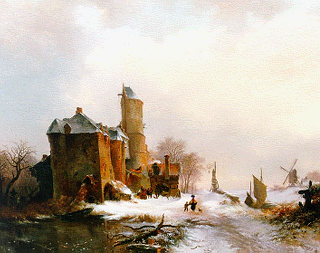 Frederik Marinus Kruseman | Figures on a path by a castle, oil on canvas, 80.0 x 99.0 cm, signed l.r. and dated '42