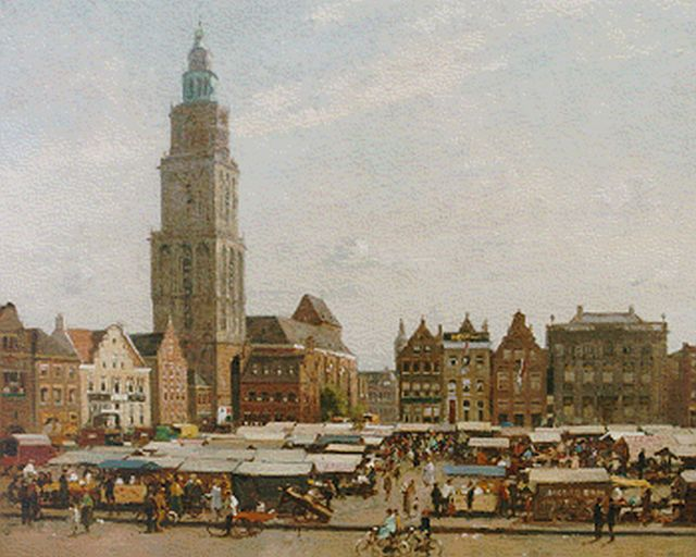Cornelis Vreedenburgh | A view of the market, Groningen, oil on canvas, 49.5 x 73.5 cm, signed l.r. and dated 1936