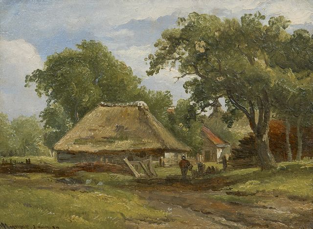Arnoldus Johannes Eymer | A farm in a wooded landscape, oil on painter's board, 15.2 x 20.4 cm, signed l.l. and dated 2 aug. '39
