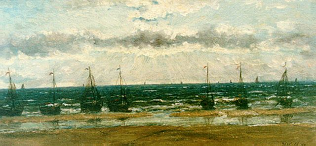 Hendrik Willem Mesdag | 'Bomschuiten'  in the surf, oil on canvas laid down on panel, 13.9 x 29.0 cm, signed l.r. with initials and dated '71