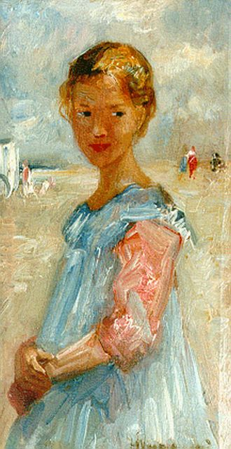 Simon Willem Maris | A little girl in a blue dress on the beach, Zandvoort, oil on panel, 22.0 x 11.7 cm, signed l.r. and dated 1917