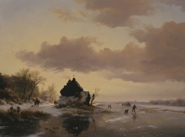 Frederik Marinus Kruseman | A winter landscape at sunset, oil on panel, 39.3 x 52.8 cm, signed l.l. and dated 1842