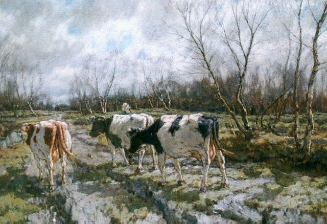 Arnold Marc Gorter | A cowherdess, oil on canvas, 96.0 x 130.2 cm, signed l.r.