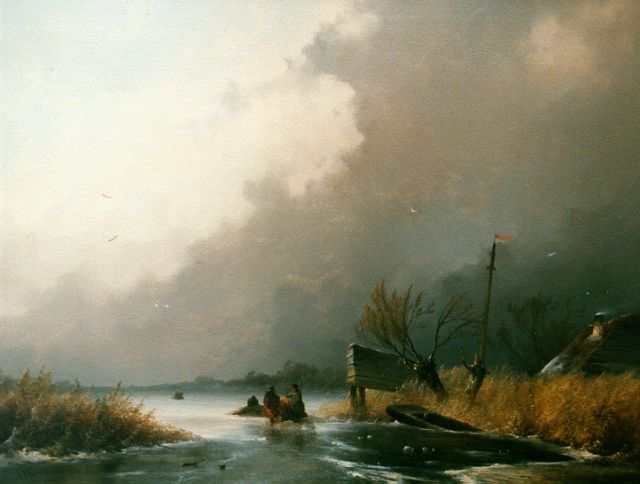 Johannes Franciscus Hoppenbrouwers | A frozen waterway with skaters on the ice, oil on panel, 54.5 x 72.7 cm, signed l.l. and dated '52