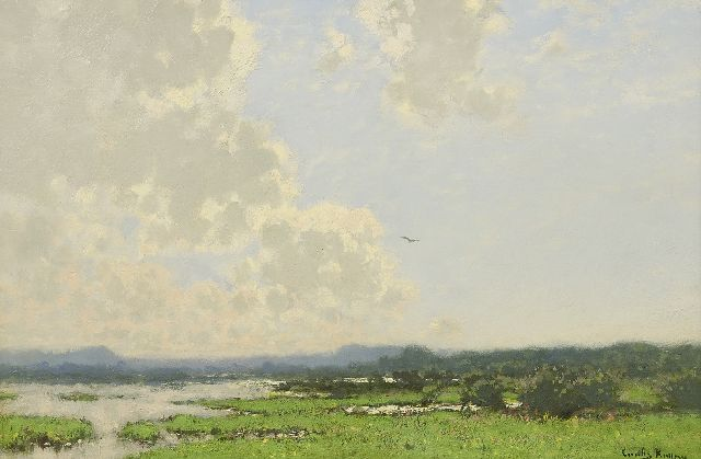 Cornelis Kuijpers | Washland along the river Rhine, oil on canvas, 38.0 x 58.5 cm, signed l.r.