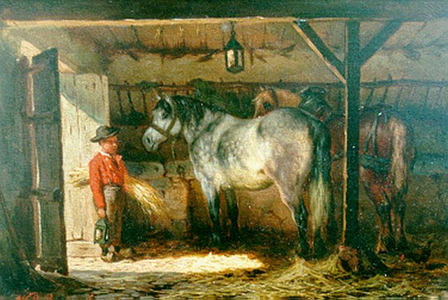 Willem Johan Boogaard | Feeding the horses, oil on panel, 16.8 x 25.3 cm, signed l.l.