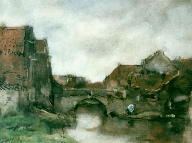 Jacob Maris | A view of a canal, watercolour on paper, 29.8 x 38.6 cm, signed l.l.