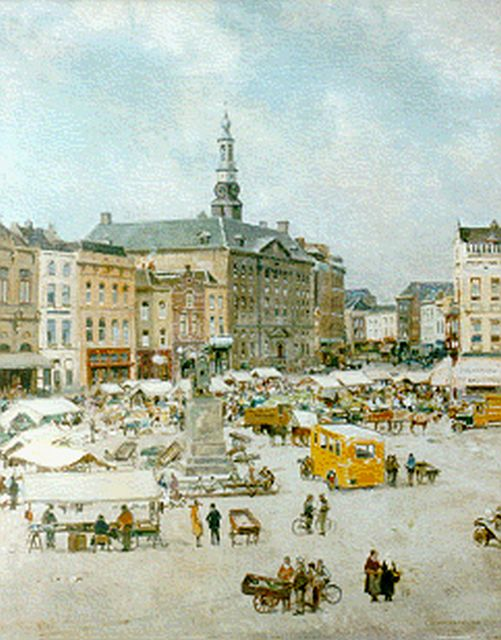 Cornelis Vreedenburgh | Market day, Den Bosch, oil on canvas, 73.9 x 59.1 cm, signed l.r. and dated 1935